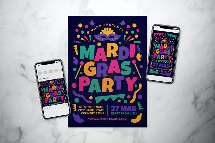 Cover Image For Mardi Gras Flyer Set