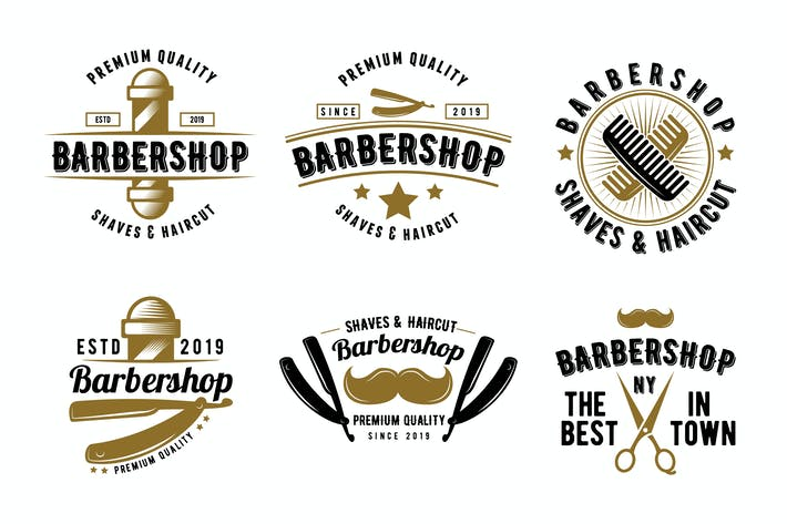 Thumbnail for Retro Set of Barbershop Emblem Logo Badge
