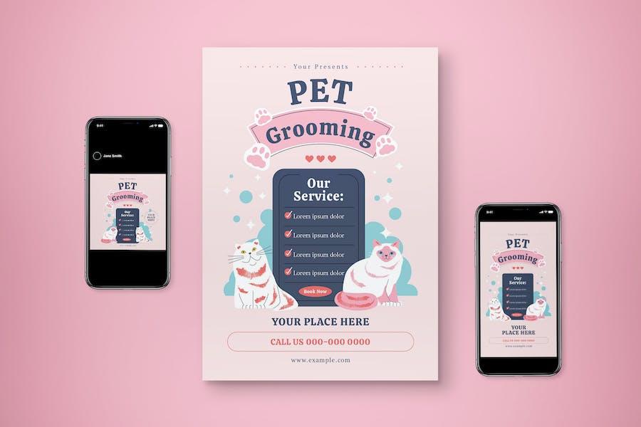 Pet Grooming Flyer Set