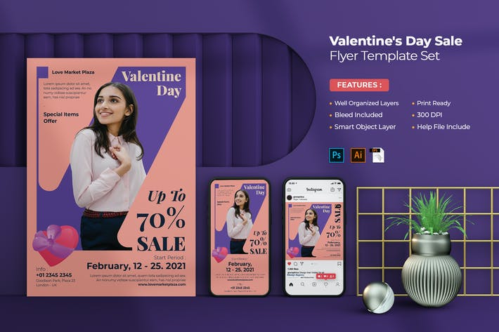 Thumbnail for Valentine's Day Sale Flyer Set
