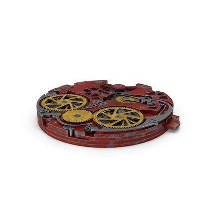 Mecanismo de reloj rojo rayado