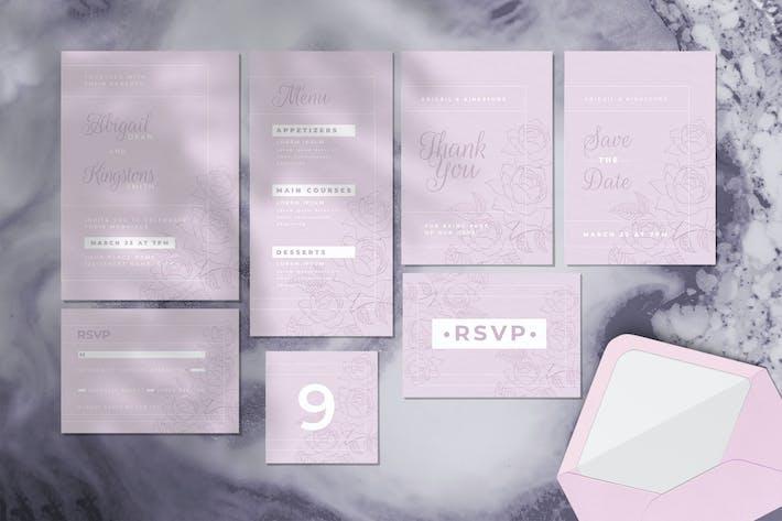 Thumbnail for Ensemble d'invitation de mariage - Style fleur Artline