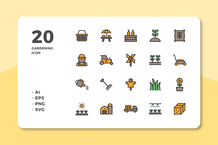 Cover Image For 20 Gardening Icons (Lineal Color)