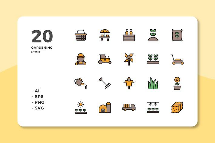 Thumbnail for 20 Íconos de jardinería (color lineal)