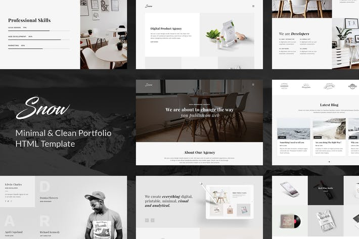 Thumbnail for Snow - Minimal & Clean HTML Portfolio Template