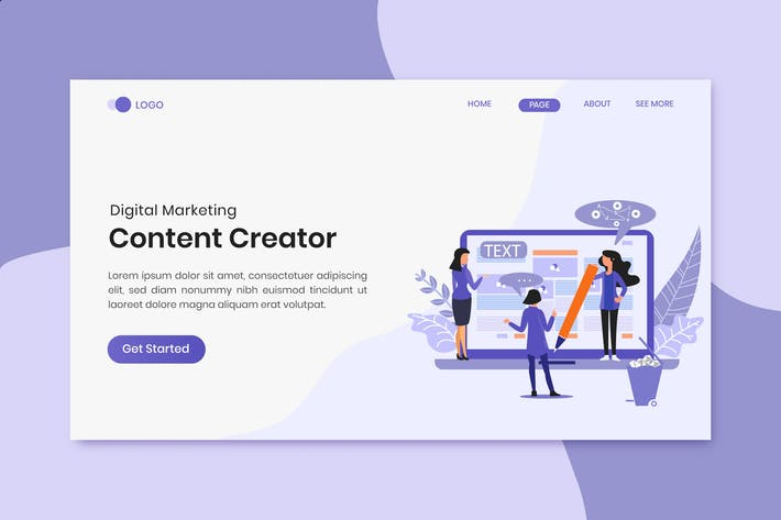 Thumbnail for Content Creator Digital Marketing Landing Page