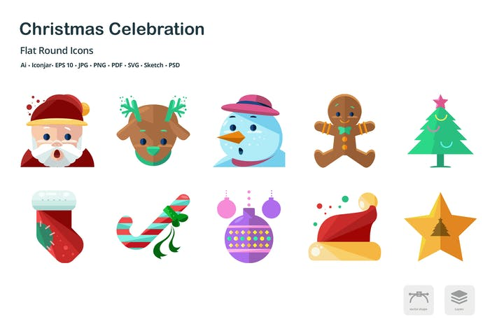 Cover Image For Christmas Celebration Flat Colored Icons
