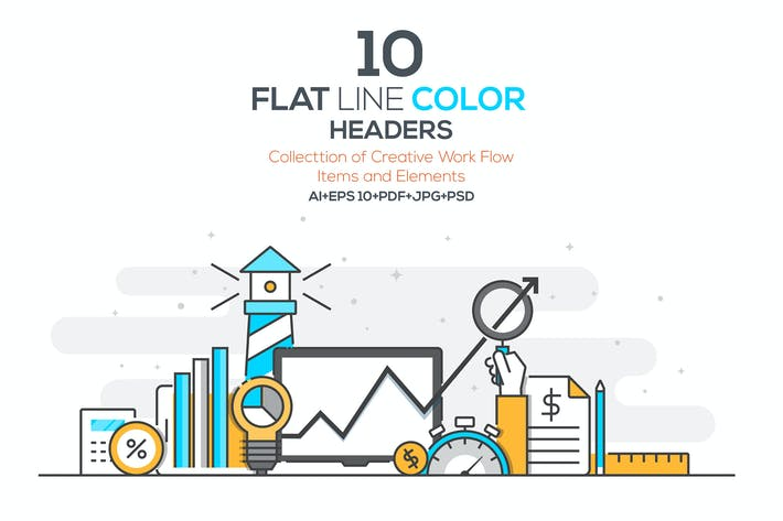 Cover Image For Set of Flat Line Color Banners