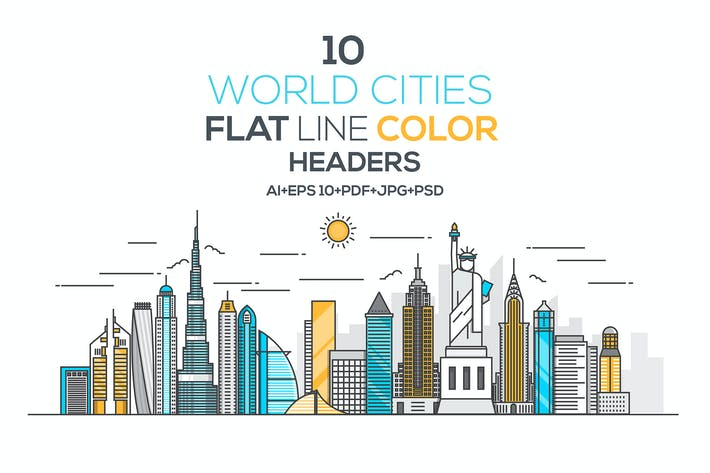 Thumbnail for Set of Flat Line Color Banners of World Cities