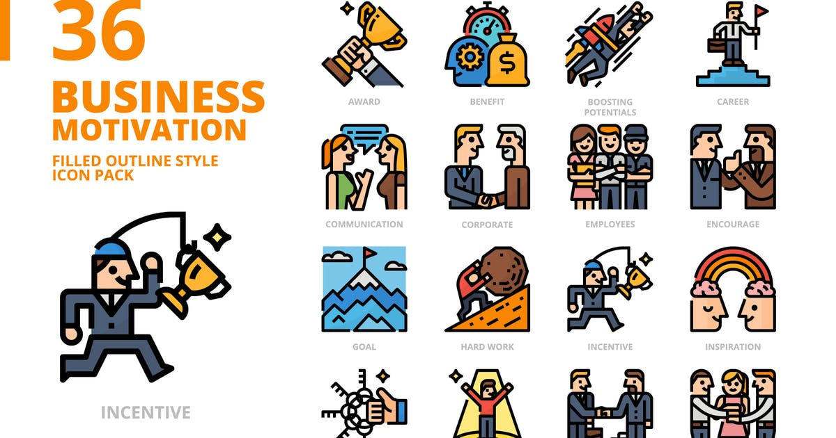 Download Business Motivation Filled Outline Style Icon Set by monkik