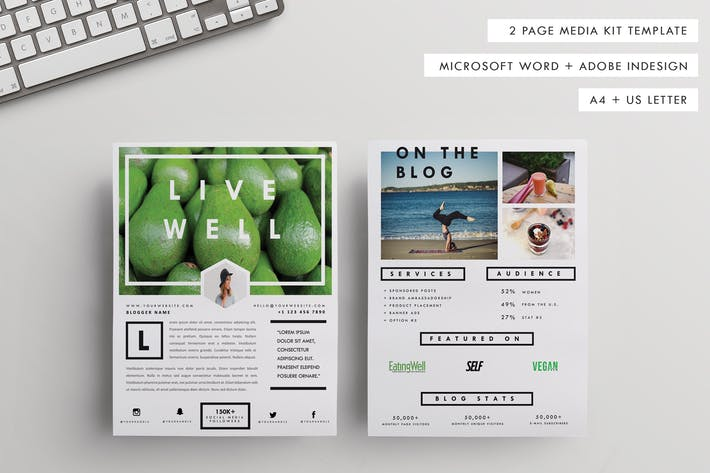 "Thumbnail for A4+US Letter Press/Media/Pitch Kit| ""Live Well"""