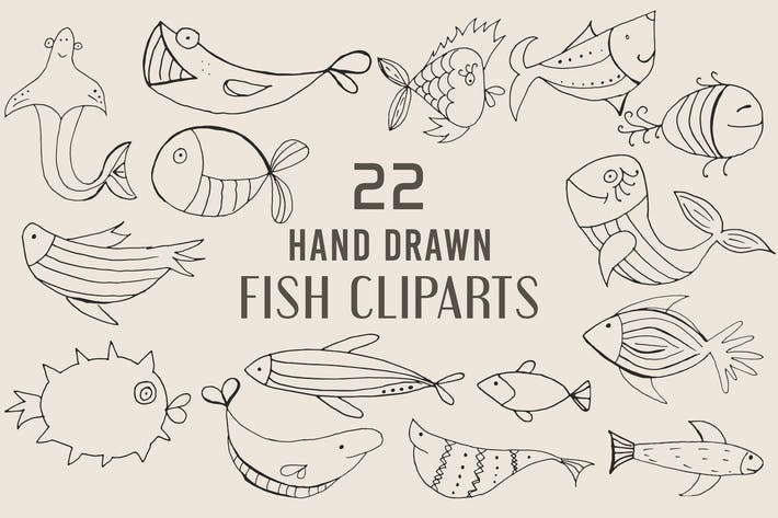 Thumbnail for Handgefertigte Fisch-Cliparts Pack