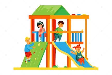 Niños en el parque infantil - Ilustración plana