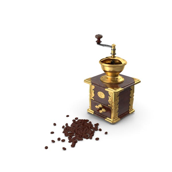 Molinillo de café vintage con granos de café