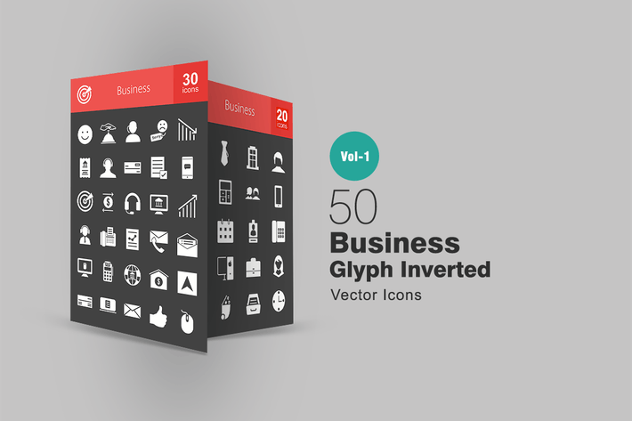 Thumbnail for 50 Business Glyph Inverted Icons
