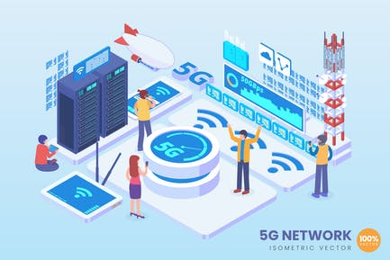 Isometric 5G Network Technology Vector Concept