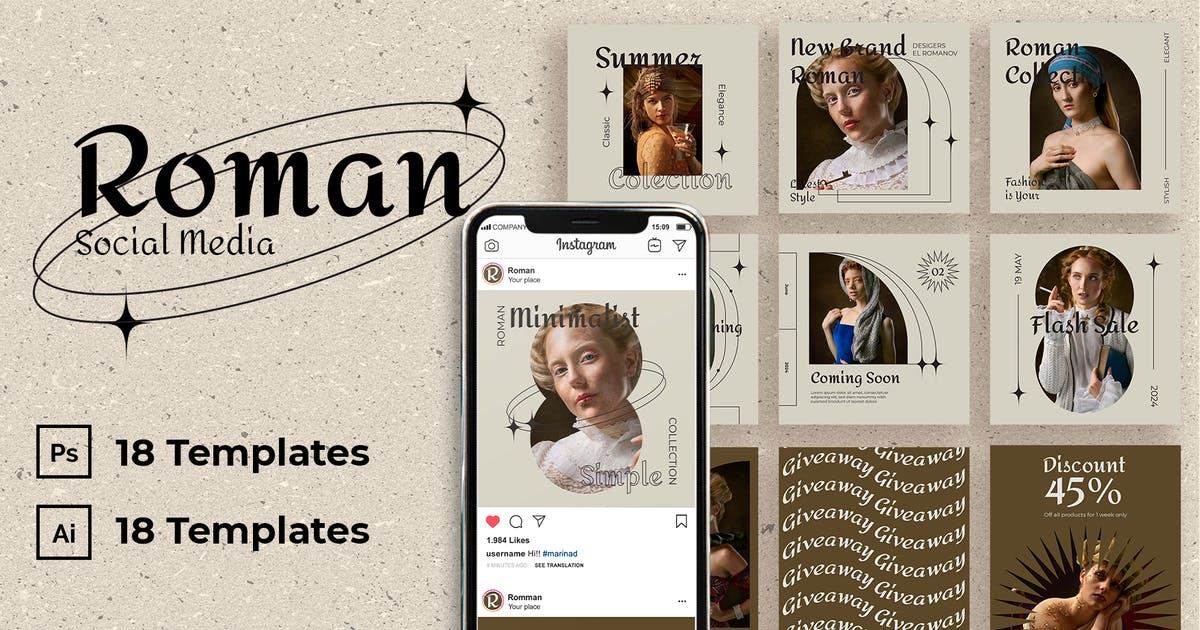 Download Roman Instagram Post Template by usedesignspace