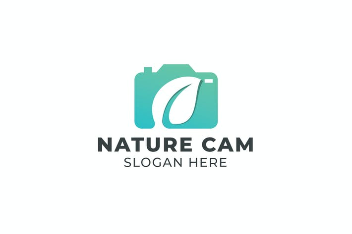 Thumbnail for Camera and Leaf Negative Space Logo