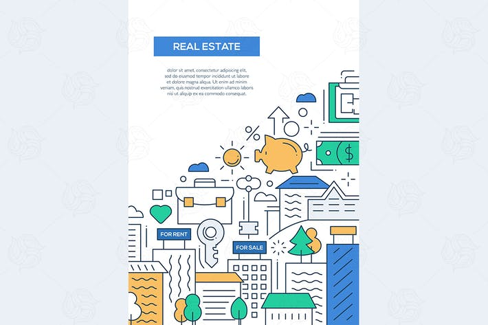 Thumbnail for Real Estate - line design brochure poster template
