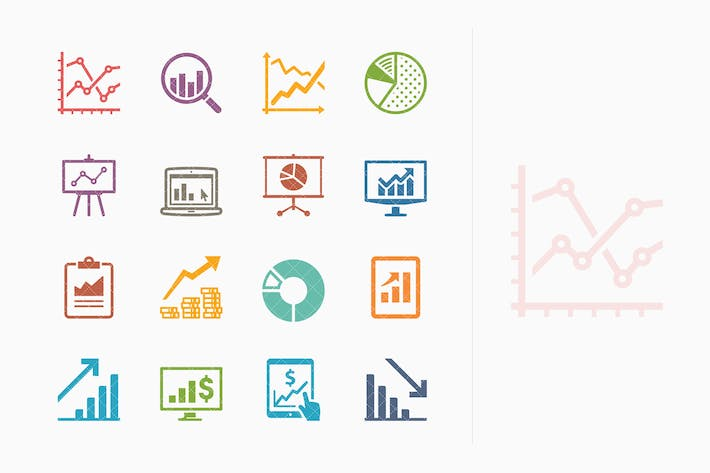 Thumbnail for Business Graphs & Charts Icons - Colored Series