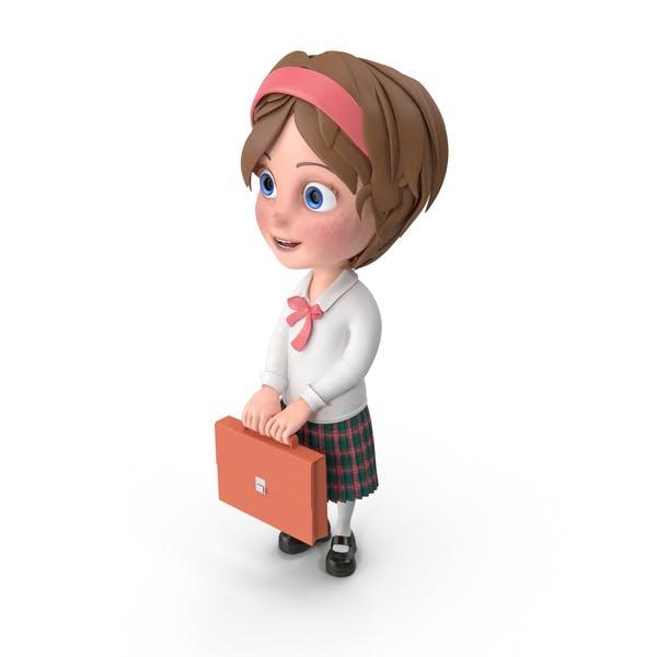 Thumbnail for Cartoon Girl Holding Briefcase