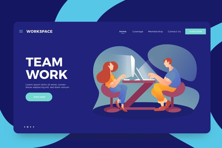 Thumbnail for Team Work Vector Landing Illustration