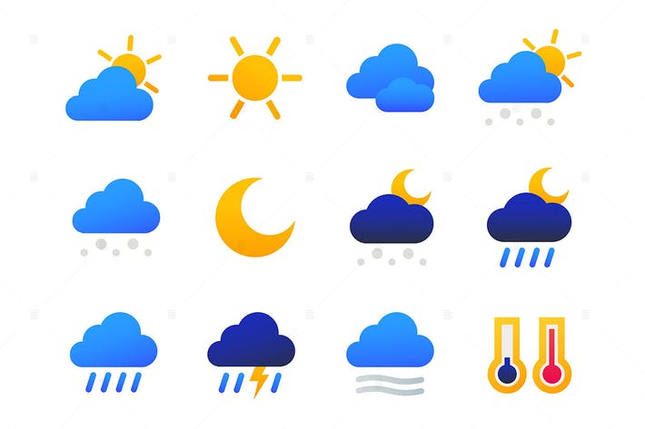 Thumbnail for Weather types - set of flat design style icons