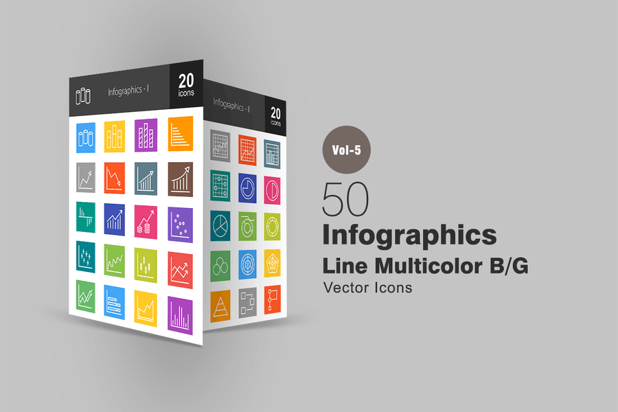 40 Infographics Line Multicolor Icons