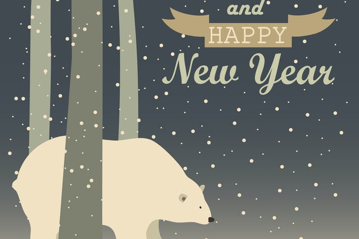 Thumbnail for Vector greeting card, polar bear in the forest