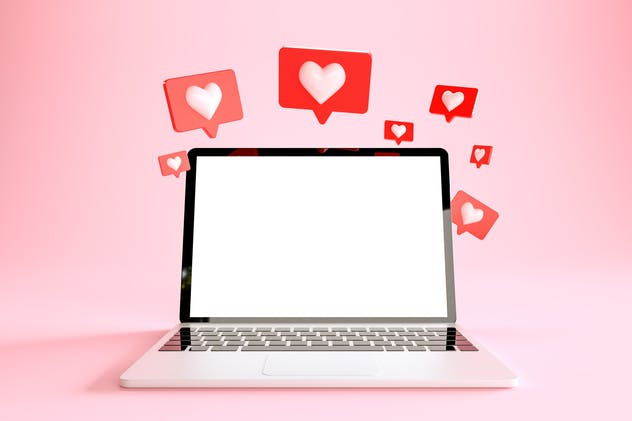 Laptop with many like notifications at pink