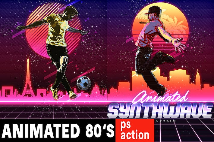 Cover Image For Animated 80's Synthwave Poster - Photoshop Action