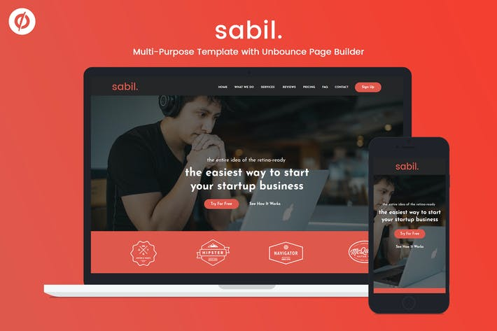 Cover Image For Sabil- MultiPurpose Unbounce Landing Page Template