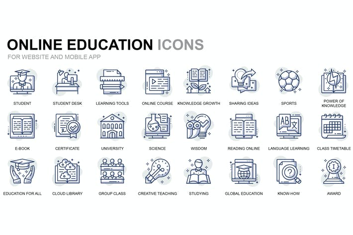 Thumbnail for Online Education Thin Line Icons