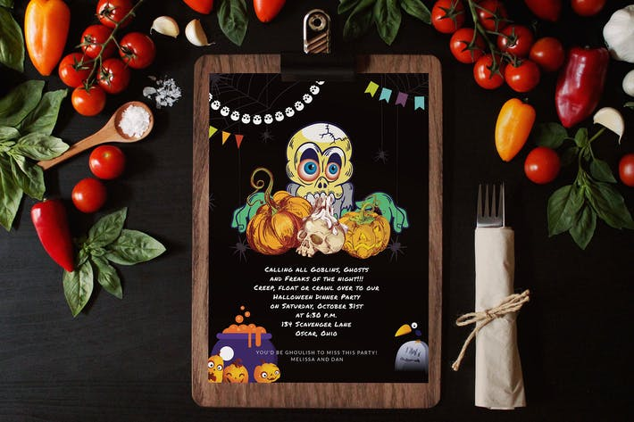 Thumbnail for Halloween Dinner Invitation Card