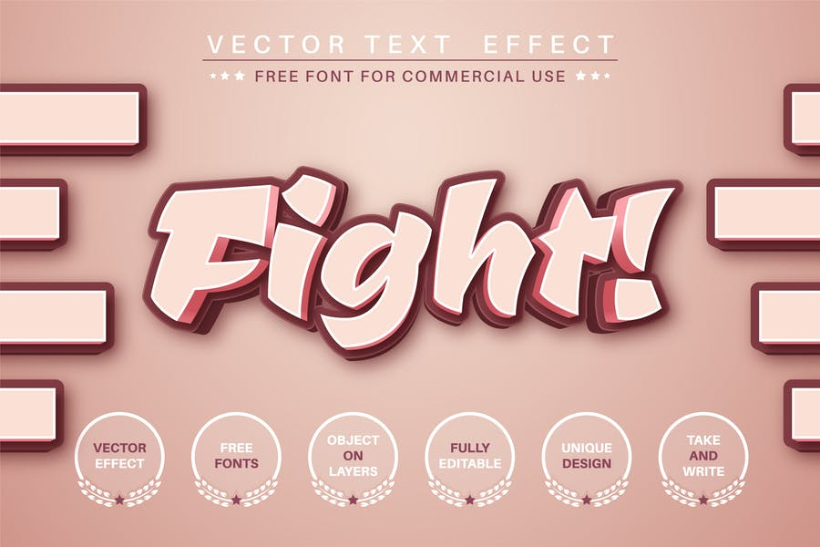 Fight - editable text effect, font style