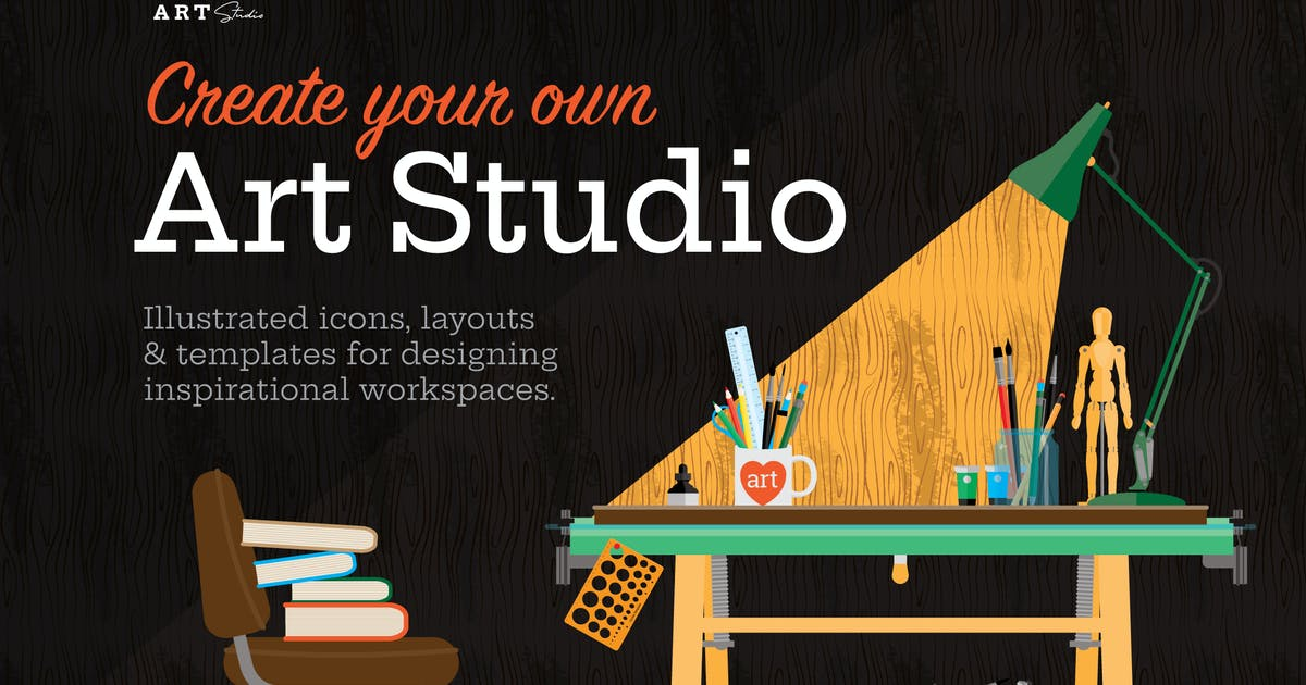 Download Art Studio Illustrated Objects and Icons by wingsart