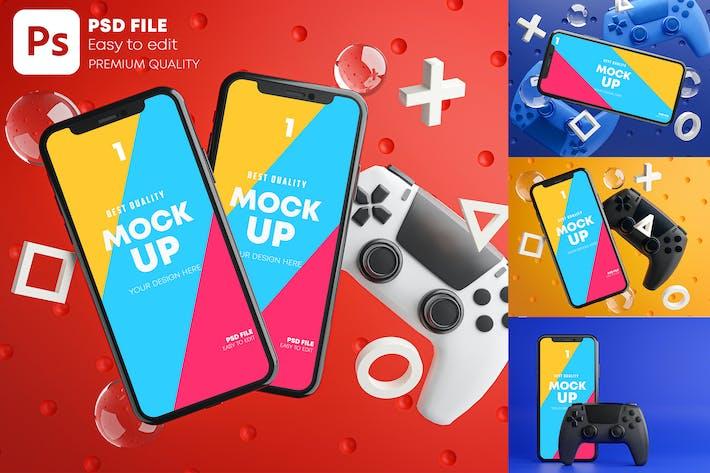 Thumbnail for Smartphone Gaming Mockup Gamepad Pack