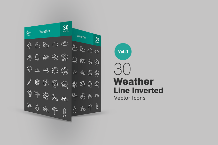 30 Weather Line Inverted Icons