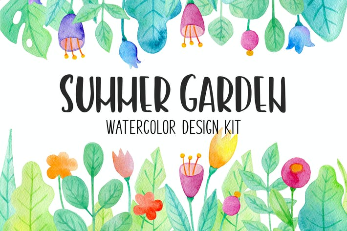 Thumbnail for Summer Garden Watercolor Design Kit