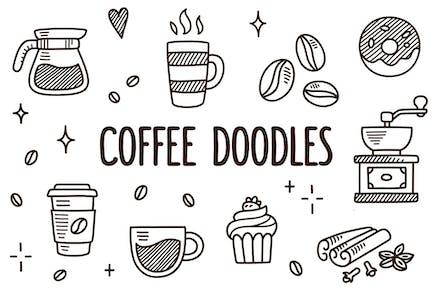 Vector coffee doodles