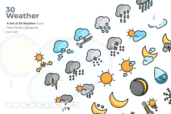 Thumbnail for 30 Weather Icons