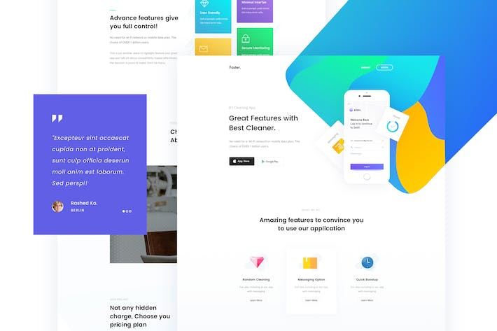 Thumbnail for Faster - App Landing Page PSD Template