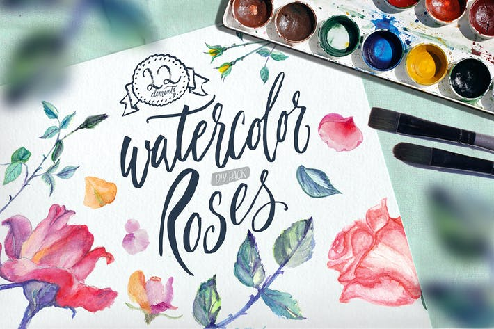 Thumbnail for Watercolor Roses DIY pack