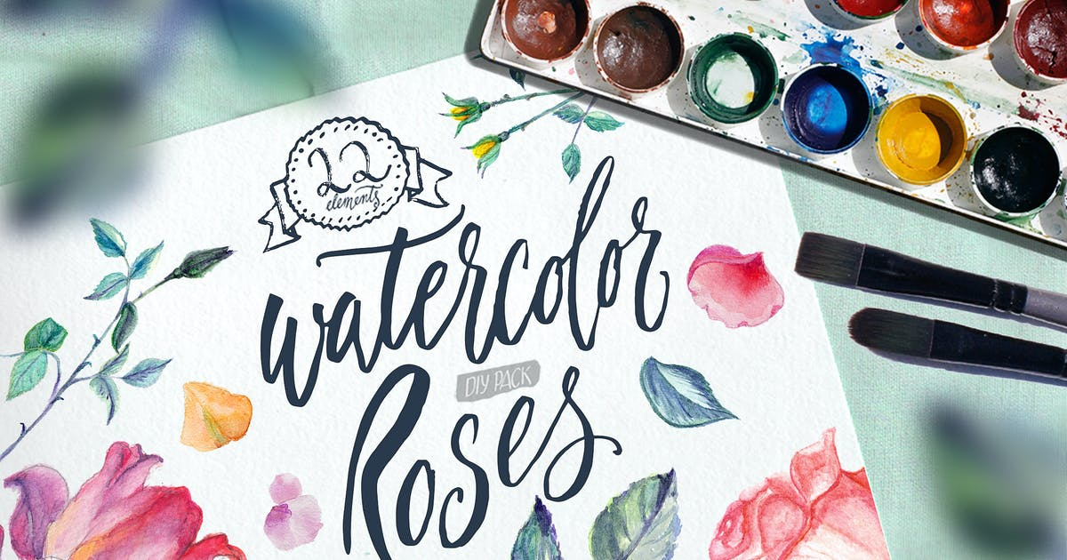Download Watercolor Roses DIY pack by BlessedPrint