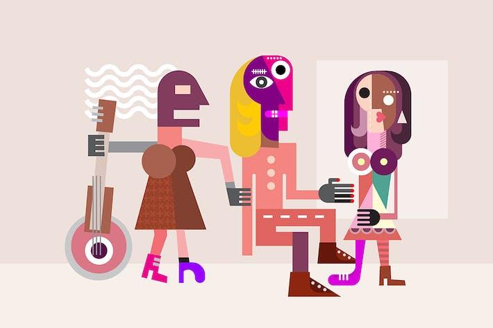Thumbnail for Hombre Between Two Mujeres ilustración Vector de arte fino
