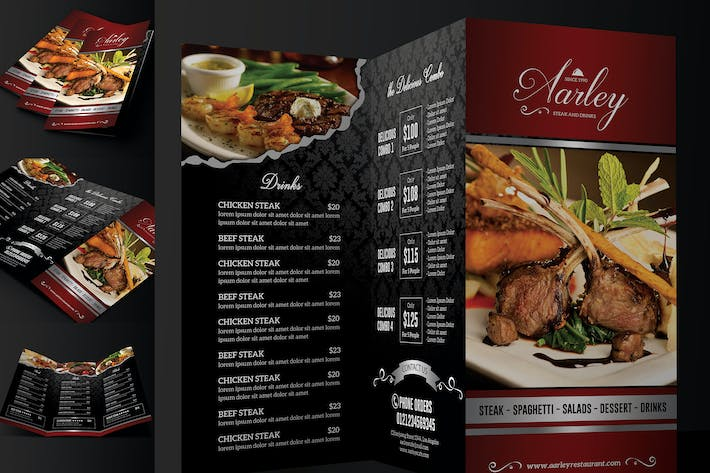 elegant restaurant menu trifold by aarleykaiven on envato elements
