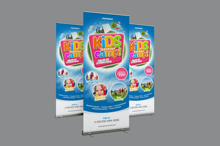 Thumbnail for Kids Summer Camp Roll-up Banner