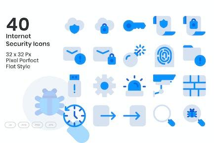 40 Internet Security Icons Set - Flat