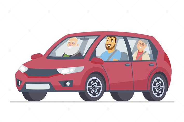 Grandparents in a car - flat illustration