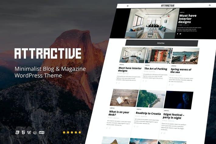 Thumbnail for Attractive - Minimalist Blog WordPress Theme